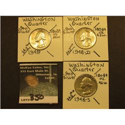 1948 P, D, & S Washington Silver Quarters, All Vf-EF.