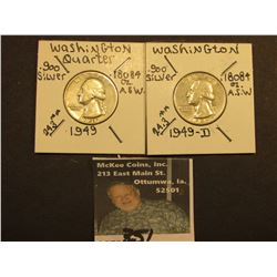 1949 P & D Washington Silver Quarters, Both VF.