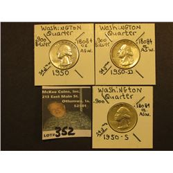 1950 P, D, & S Washington Silver Quarters, All VF.
