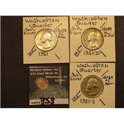 1951 P, D, & S Washington Silver Quarters, All VF.