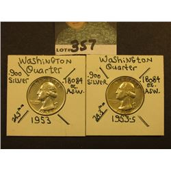 1953 P & S Washington Silver Quarters, EF-AU.