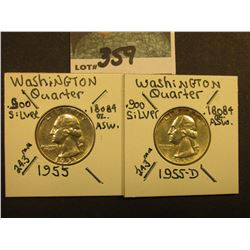 1955 P & D Washington Silver Quarters, AU-Unc.