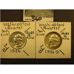 1956 P & D Washington Silver Quarters, Brilliant Unc.
