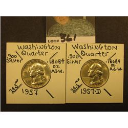 1957 P & D Washington Silver Quarters, Brilliant Unc.