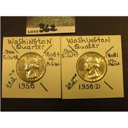 1958 P & D Washington Silver Quarters, AU-Unc.