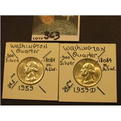 1959 P & D Washington Silver Quarters, AU-Unc.