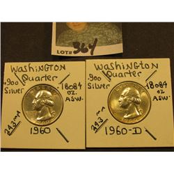 1960 P & D Washington Silver Quarters, Brilliant Unc.