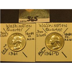 1961 P & D Washington Silver Quarters, AU-Unc.
