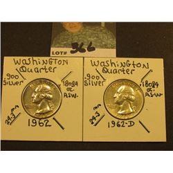 1962 P & D Washington Silver Quarters, AU.