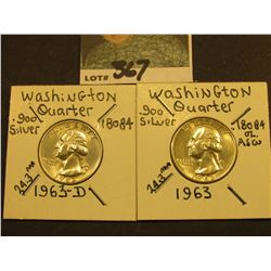 1963 P & D Washington Silver Quarters, AU-Unc.