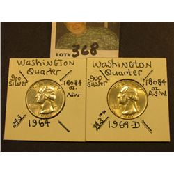1964 P & D Washington Silver Quarters, Brilliant Unc.