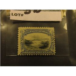 Scott #297 5c Pan-American Expo. Issue, Blue & Black, Mint Hinged Fine Centering.