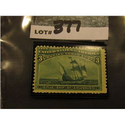 Scott #232 3c Columbian Expo.  Green, Mint Very Lightly Hinged.