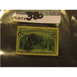 Scott #238 15c Columbian Expo. Dark Green, Used.