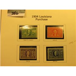 Scott #223-226 1c-5c 1904 Louisiana Purchase. All Mint, 1c M.N.H., 2c Mint Hinged, 3c Mint Partial G