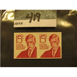 Scott #1305E 15c Oliver Wendell Holmes, Imperforated Pair. Mint Never Hinged.