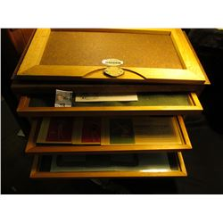 Display case with (7) Glass covered trays of Antique Ink Blotters and other collectible memorabilia.
