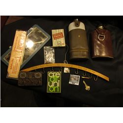 Holiday Inn Advertising Balsa Wood Airplane; leather Coin Wallet with mirror and several Foreign Coi
