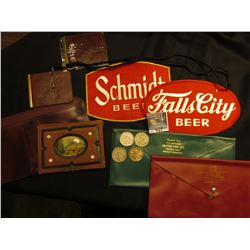 "Several Pouches, etc. some made of leather; ""Falls City Beer"" Cloth Patch; ""Schmidt Beer"" Cloth Patc"