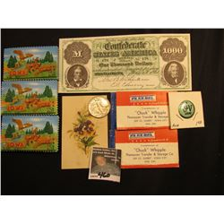 "Floral Card; (2) ""Air Mail (Labels) ""Chuck"" Whipple…Iowa City…Dial 2161""; ""I Luv me"" Pin-back; (3) l"