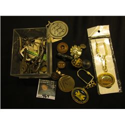 "(2) Like New ""Jerusalem"" Key Rings; & a group of Old keys, latch, buttons, and etc."
