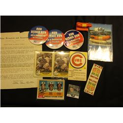 "(3) ""Run Bernie Run…"" Pin-backs; ""Oscar Meyer"" Weiner Whistle & Post Card; (2)  autographed ""John Wa"