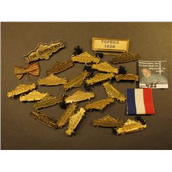 "A large group of brass ""Member"" badges designed to attach a ribbon; ""Topeka 1938"" Brass Pin-back; &"