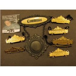 """Committee"" Hanging Badge with an area for a photo in center; & several brass ""Alternate"" Pin-backs."