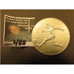 51 mm Aluminum Soccer Medal. 5mm thick. 'Doc' seemed to think it was 1930 era.