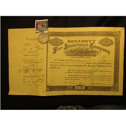 "1934 Stock Certificate with attached stub from ""Security Fire Insurance Company Davenport, iowa""; &"
