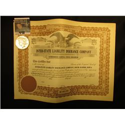 "Unissued Stock Certificate ""Inter-State Liability Insurance Company…Rock Rapids, Iowa""; & 1922 P U.S"