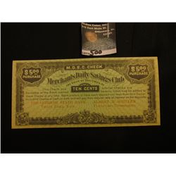 "$5 ""Merchants Daily Savings Club…The Citizens State Bank Valley Falls, Kans. "" Crisp Unc."
