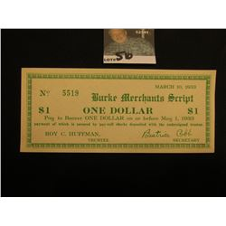 """March 10, 1933 Burke Merchants Script"" One Dollar (North Carolina) Depression Script, Uncanceled &"