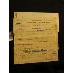 Group of (14) Old Davenport, Iowa Checks, several from the National Bank. Dates range from 1882 to 1