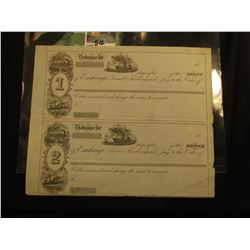 "1850 era ""Exchange Notes"" Unissued. The first is for ""Second & Third Unpaid"" and the latter is for """