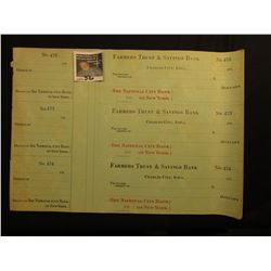 "A large group of Three-piece Sheets of blank Checks from 1910 era ""Farmers Trust & Savings Bank Char"