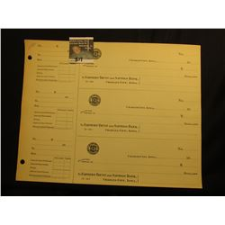 "A large group of Three-piece Sheets of blank Checks from ""Farmers Trust & Savings Bank Charles City,"