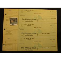 "Three-piece Sheet of blank Checks from ""The Cut Price Shoe Store W.H. Swarts Atlantic, Iowa"" 1910 er"