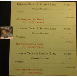"(11) Three-piece Sheets of blank Checks from 1910 era ""Farmers Trust & Savings Bank Charles City, Io"
