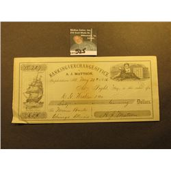 "May 20th, 1856 ""Banking and Exchange Office of A.J. Mattson Prophetstown, Ill."" depicts sailing ship"