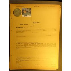 "Group of Unused Blank ""State of Iowa Protest"" 1104 forms; & 1923 S Peace Silver Dollar, VF."
