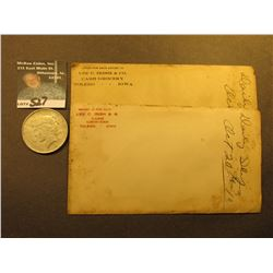 "Pair of 1910 era envelopes ""Lee C. Irish Co. Cash Grocery Toledo, Iowa"" with receipts; & 1922 D U.S."
