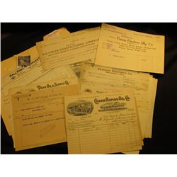 Large Group of old Iowa Invoices for Farm Companies. Includes towns such as Shellsburg, Des Moines,