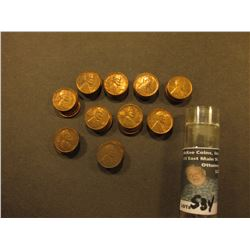1954 P Original BU Roll of Lincoln Cents in a plastic tube, only a few scattered Carbon specks. CDN