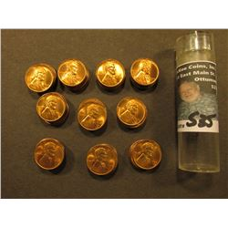 1944 D Original BU Roll of Lincoln Cents in a plastic tube, only a few scattered Carbon specks. CDN