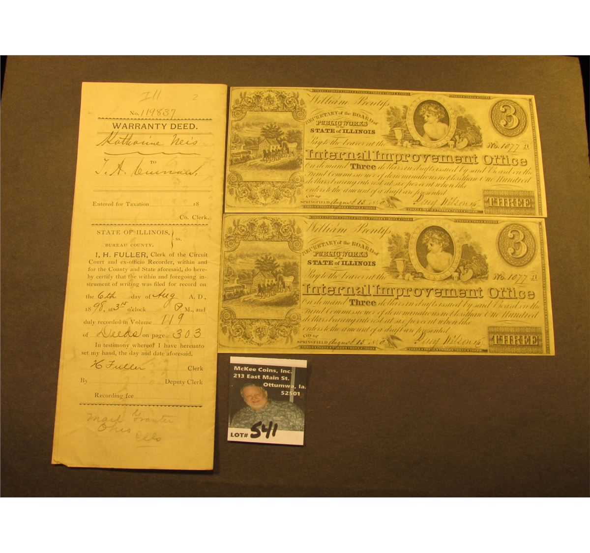 Illinois bureau county ohio - 1898 Warranty Deed With 50 Cent Documentary Stamp From The Town Of Ohio County Of Bureau State Of