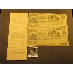 1898 Warranty Deed with 50 Cent Documentary Stamp from the town of Ohio, County of Bureau, State of