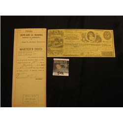 1900 Master's Deed with Series 1898 10 Cent Documentary Stamp from the town of Rockford, County of W
