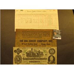 "1883 Tax Receipt from Monroe Conty, Missouri; ""The Ben Zenoff Company, Inc"" Advertising note on a fa"