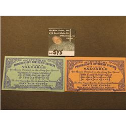 "1938 Lexington (Kentucky?) Depression Scrip 20 & 50 ""Worthmore Progressive Dividend System"". Both CU"